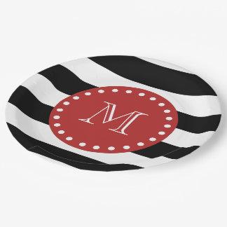 Black White Stripes Pattern, Red Monogram 9 Inch Paper Plate