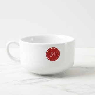 Black White Stripes Pattern, Red Monogram Soup Bowl With Handle