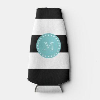 Black White Stripes Pattern, Teal Monogram Bottle Cooler