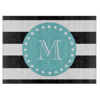 Black White Stripes Pattern, Teal Monogram Cutting Board