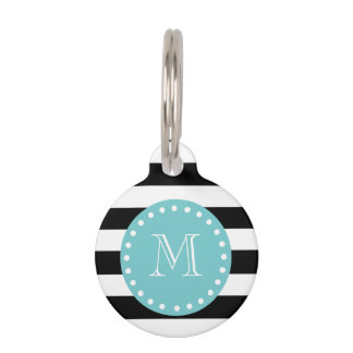 Black White Stripes Pattern, Teal Monogram Pet ID Tag
