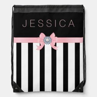 Black & White Stripes Pattern With Pink Ribbon Drawstring Backpacks