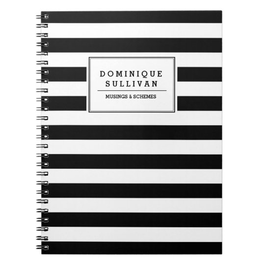 Black & White Stripes Personalised Notebook