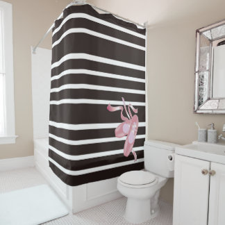 Black/White Stripes, Pink Ballet Shoes, Ribbon Shower Curtain