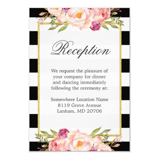Black White Stripes Pink Floral Wedding Reception Card