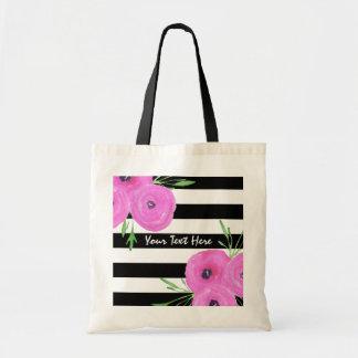 Black White Stripes Pink Ranunculus Floral Budget Tote Bag