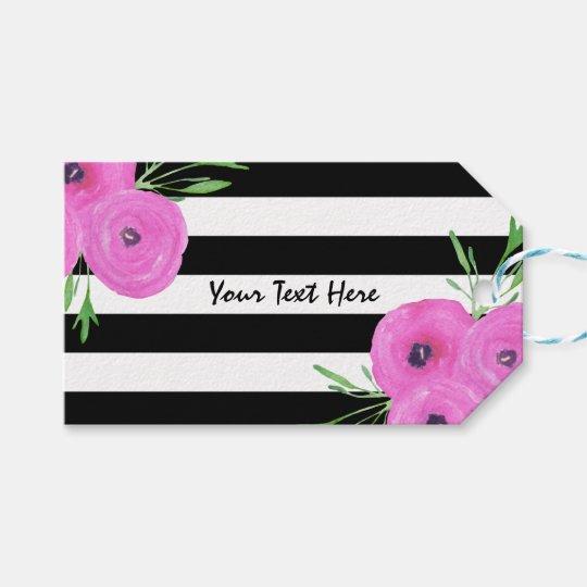 Black White Stripes Pink Ranunculus Floral Gift Tags