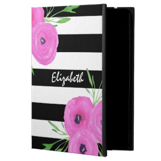 Black White Stripes Pink Ranunculus Floral Powis iPad Air 2 Case