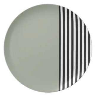 Black & White Stripes Plate