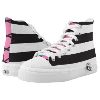 Black & White Stripes Printed Shoes