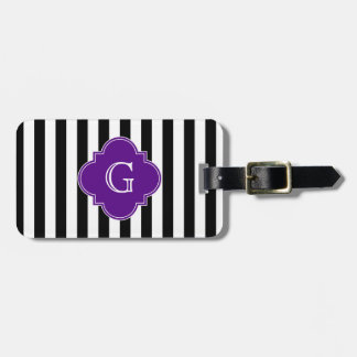 Black White Stripes, Purple Label Monogram Luggage Tag