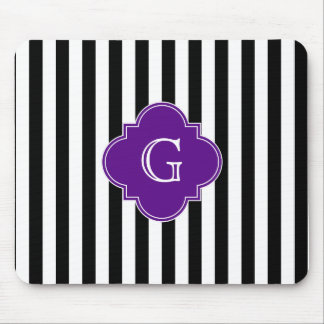 Black White Stripes, Purple Label Monogram Mouse Pad