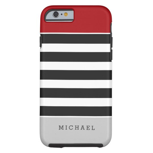 Black White Stripes Red Grey Monogram Name Tough