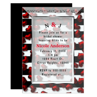 Black White Stripes & Red Hearts Bridal Shower Card