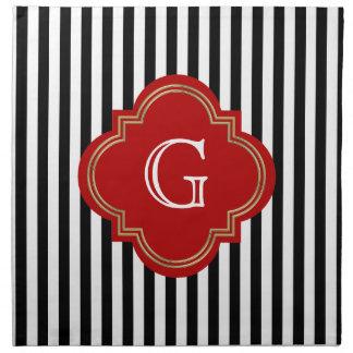 Black White Stripes, Red Label Monogram Napkin