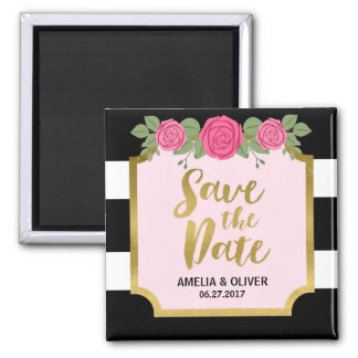 Black White Stripes Roses Wedding Save the Date Square Magnet