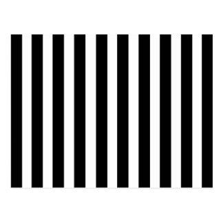 Black White Stripes Vertical Striped Pattern Retro Postcard