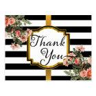 Black   White Stripes Vintage Floral Thank You Postcard