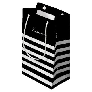 Black | White Stripes Wedding Favour Bags