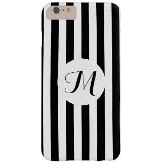 Black White Stripes with Customizeable Monogram Barely There iPhone 6 Plus Case