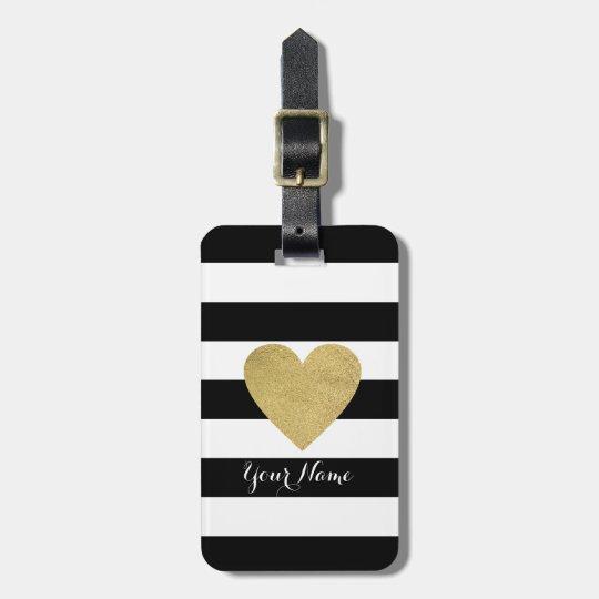 Black & White Stripes with Gold Foil Heart