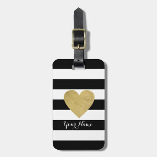 Black & White Stripes with Gold Foil Heart Luggage Tag