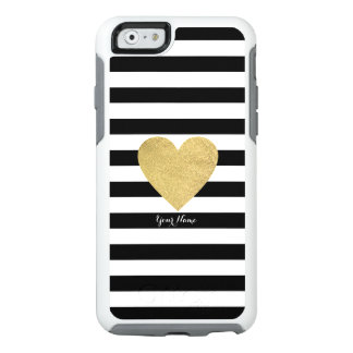 Black & White Stripes with Gold Foil Heart OtterBox iPhone 6/6s Case