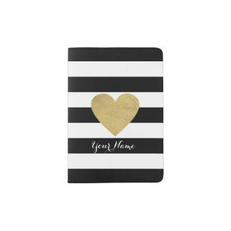 Black & White Stripes with Gold Foil Heart Passport Holder