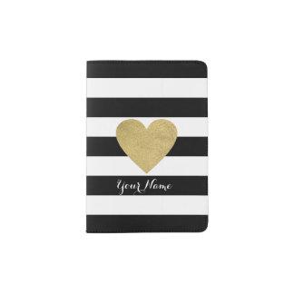 Black & White Stripes with Gold Foil Heart Passport Holder