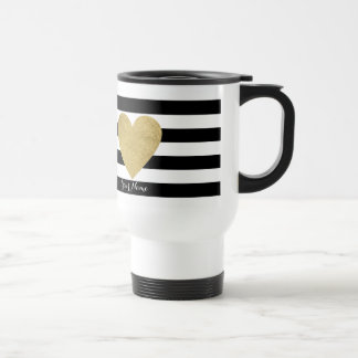 Black & White Stripes with Gold Foil Heart Stainless Steel Travel Mug