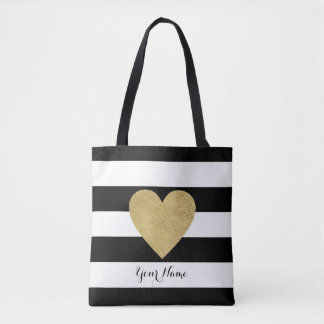 Black & White Stripes with Gold Foil Heart Tote Bag