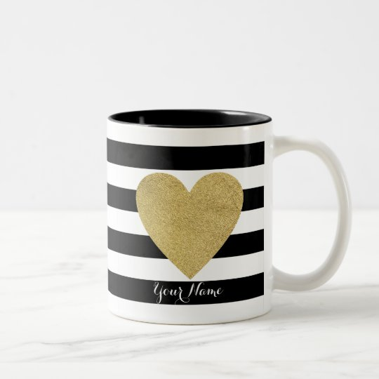 Black & White Stripes with Gold Foil Heart
