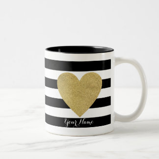 Black & White Stripes with Gold Foil Heart Two-Tone Mug