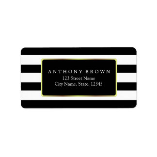 Black & White Stripes with Gold Frame Label Address Label