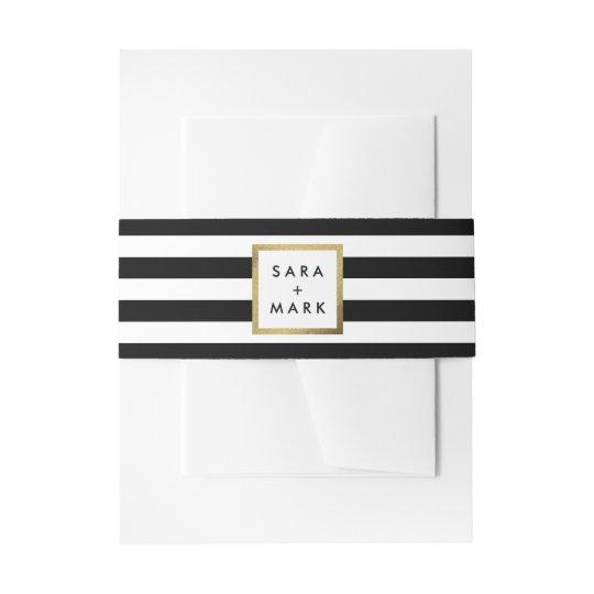 Black & White Stripes with Gold Frame Label