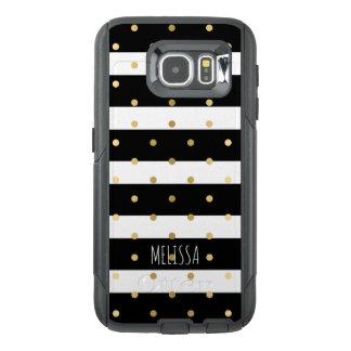 Black & White Stripes With Gold Polka-dots 2