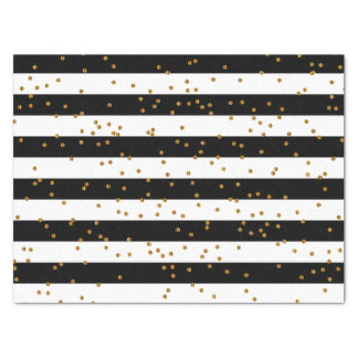Black & White Stripes with Metallic Gold Confetti Tissue Paper