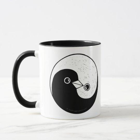 Black/white styled mug peace in multiple languages