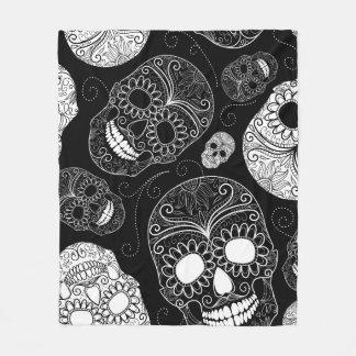 Black & White Sugar Skull Heads Fleece Blanket