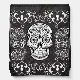 Black White Sugar Skull Skeleton Tattoo Art Bag