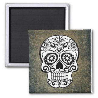 Black & White Sugar Skull Slate Magnet