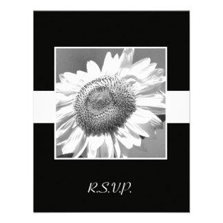 Black White Sunflower RSVP Wedding Invitation Personalized Announcements