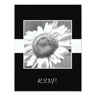 Black & White Sunflower RSVP Wedding Invitation