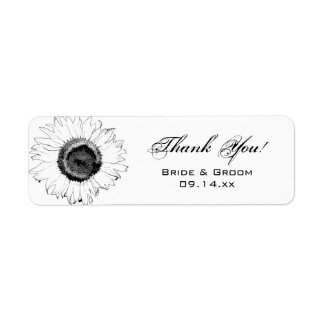 Black White Sunflowers Thank You Party Favor Tag