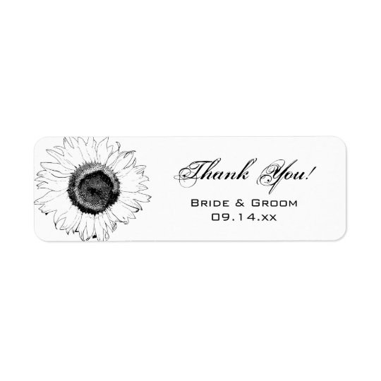 Black White Sunflowers Thank You Party Favour Tag Return Address Label