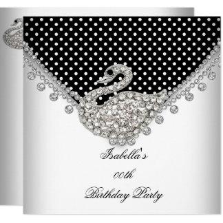 Black White Swan Elegant Birthday Party Card