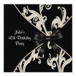 Black White Swirl Womans 40th Birthday Party 13 Cm X 13 Cm Square Invitation Card