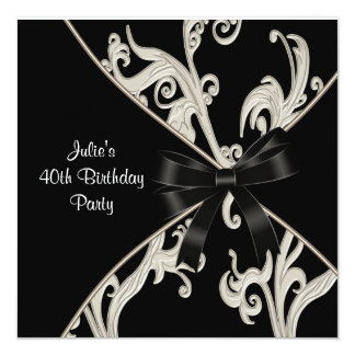 Black White Swirl Womans 40th Birthday Party 13 Cm X 13 Cm Square Invitation Card