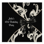 Black White Swirl Womans 40th Birthday Party Personalized Invitations