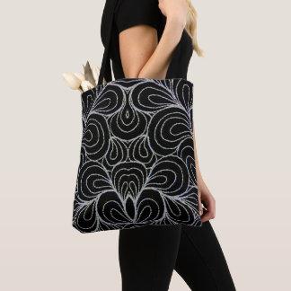 BLACK & WHITE SWIRLS TOTE BAG